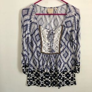Vanessa Virginia boho blue print blouse med